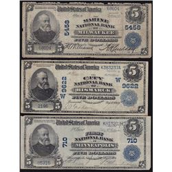 1902 First National Bank $5 Notes - Lot of 3