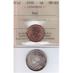 1938 Newfoundland One Cent & 1919 Twenty Five Cents