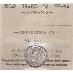 1940C Newfoundland Five Cents