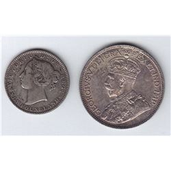 1888 Newfoundland Ten Cents & 1917C Twenty Five Cents