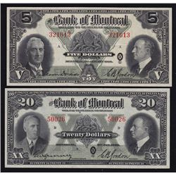 Lot of Two 1938 Bank of Montreal $5 & $20 Notes