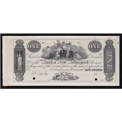 The Bank of New Brunswick St. John. One Pound. Issues of 1838-1859