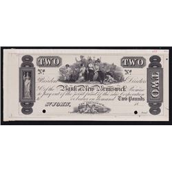 The Bank of New Brunswick St. John. Two Pounds. Issues of 1838-1859