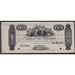 The Bank of New Brunswick St. John. Ten Pounds. Issues of 1838-1859