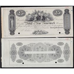 The Bank of New Brunswick St. John. Twenty Five Pounds. Issues of 1838-1859