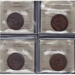 TOKENS OF UPPER CANADA - Br 719.  Four ICCS graded pieces