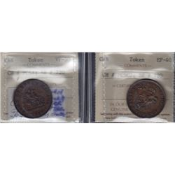 TOKENS OF UPPER CANADA - Br 719.  Two ICCS graded pieces