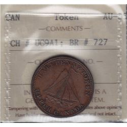 """TOKENS OF UPPER CANADA - Br 727. McL 12. """"1820"""" anvil and shovels sloop."""