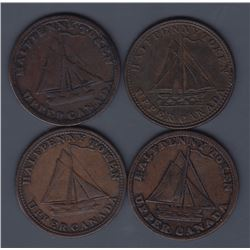 TOKENS OF UPPER CANADA - Group of four higher-grade sloops.