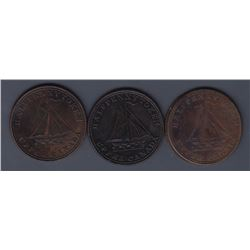 TOKENS OF UPPER CANADA - Br 730.  McL. 23.  Group of 3.