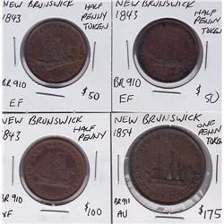 New Brunswick Breton Tokens Lot of 4