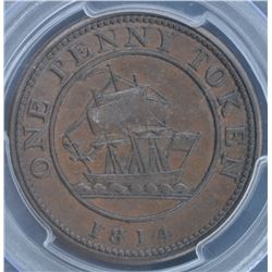 Lower Canada One Penny Token 1D, 1814