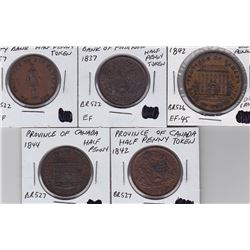 Lower Canada Breton Tokens Lot of 5