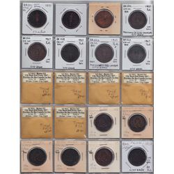 Br 522. Collection of Habitant ½ pennies, 1837, of the four issuing banks.