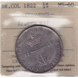 Br 857. British West Indies Colonial ½ Dollar, 1822.