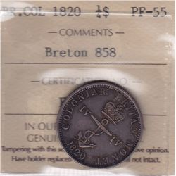 Br 858a. British West Indies Colonial ¼ Dollar, 1820.