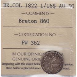 Br 860. British West Indies Colonial 1/16 Dollar, 1822.