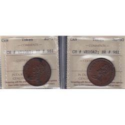 Br 981. Pair of The Illustrious Wellington Halfpennies, 1816.