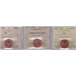 Lot of 3 ICCS Graded One Cents