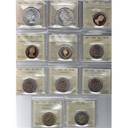 Lot of Eleven $1 & $2 ICCS Graded Coins