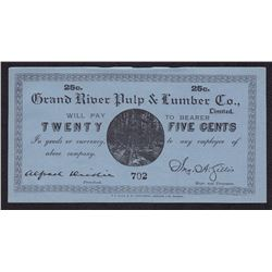 Twenty Five Cents Grand River Pulp & Lumber Co.