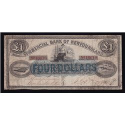 Commercial Bank of Newfoundland $4 (One Pound), 1867