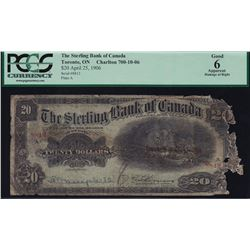 Sterling Bank of Canada $20, 1906