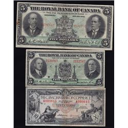 Lot of 3 Canadian Chartered Bank Notes