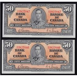Lot of 2 Consecutive Bank of Canada $50, 1937