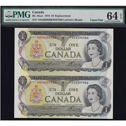 Bank of Canada $1, 1973 Rare Replacement Sheet of 2