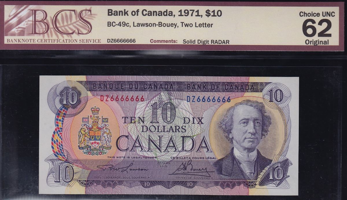 Bank Of Canada 10 1971 Solid Digit Serial Numbers