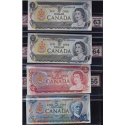 Multicoloured Bank of Canada, 1969-1974, Set of Four Matching Serial Numbered Notes
