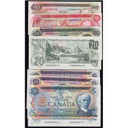 Multicoloured Bank of Canada, 1969-1979, Set of Eight Matching Serial Numbered Notes