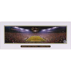 "Brett Favre Signed Packers Lambeau Field ""Monday Night Football"" 7x18 Lithograph (Favre COA)"