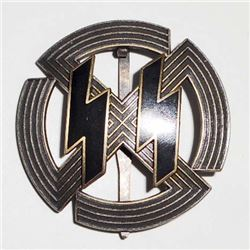 GERMAN NAZI WAFFEN SS BRONZE RUNIC & SWASTIKA BADGE
