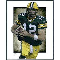 Aaron Rodgers Packers Limited Edition 11x14 Signed Art Print by Jeff Lang (Artist Proof #3/3)