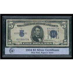 1934 U.S. $5 Five Dollar Blue Seal Silver Certificate Note