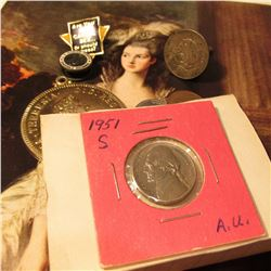1951 S AU Jefferson Nickel on an old Auction Card; Austria gold-colored Pendant Coin Replica; Mexico