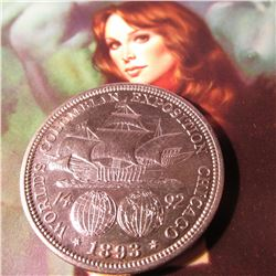 1893 Columbian Exposition Commemorative Half Dollar. AU.