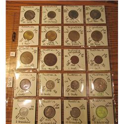 "(20) World Coins in 2"" x 2"" holders and plastic page from  Albania, Argentina, Australia, & Austia."