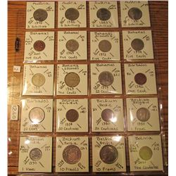 "(20) World Coins in 2"" x 2"" holders and plastic page from  Austria, Bahamas, Barbados, Belgium, & Bo"