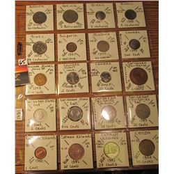 "(20) World Coins in 2"" x 2"" holders and plastic page from  Bolivia, Brazil, Bulgaria, Canada, Caribb"