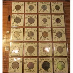 "(20) World Coins in 2"" x 2"" holders and plastic page from  Chile, China, Colombia, & Costa Rica. Tot"