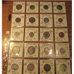 "(20) World Coins in 2"" x 2"" holders and plastic page from  Costa Rica, Croatia, Cuba, Cyrus, Czechos"