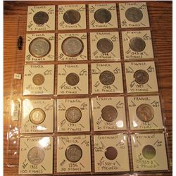 "(20) World Coins in 2"" x 2"" holders and plastic page from  France, French West Africa, & Germany. To"