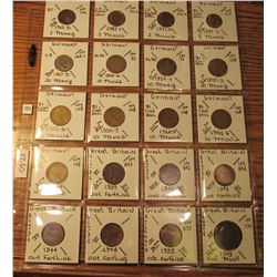 "(20) World Coins in 2"" x 2"" holders and plastic page from  Germany & Great Britain. Total Krause/Mis"