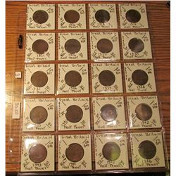 "(20) Great Britain Half Pennies. All different dates 1912-46. 2"" x 2"" holders and plastic page from"