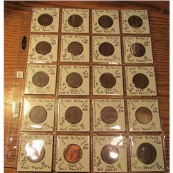 "(19) Great Britain Half Pennies 1947-1966 & 1912 Large Penny. All different dates 1912-46. 2"" x 2"" h"