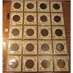 (20) Great Britain Coins, all different dates 1912-1949, 1967. Total Krause/Mishler book value for t