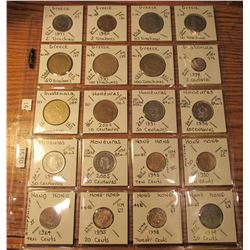 "(20) World Coins in 2"" x 2"" holders and plastic page from Greece, Guatemala, Honduras, & Hong Kong"